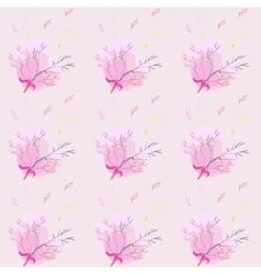 Seamless pattern with light rose herbs ang ribbon vector