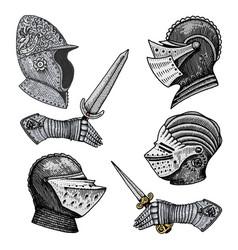 set medieval symbols battle helmets for knights vector image