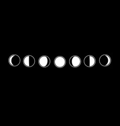 Set moon phases from full moon to crescent vector
