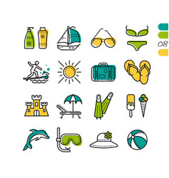 set summer holiday linear colored icons vector image vector image
