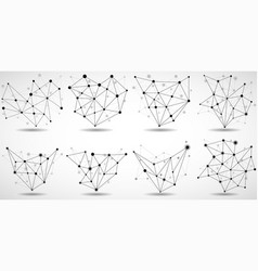 set wireframe mesh with dot and line network vector image