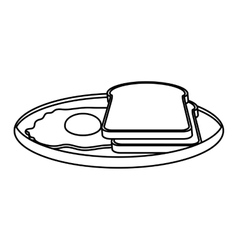 silhouette monochrome of dish slices bread and egg vector image
