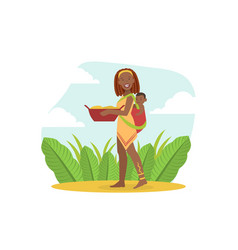Smiling african woman in traditional clothes vector