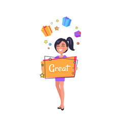 Smiling girl dreaming about boxes with presents vector