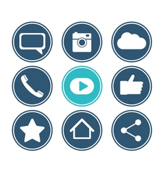 Social network icon set flat design collection vector