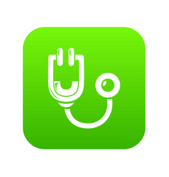 stethoscope icon green vector image