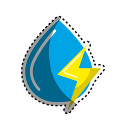 Sticker blue water drop with energy sign vector