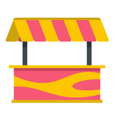 Street stall with striped awning icon isolated vector