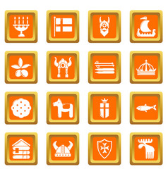 sweden travel icons set orange square vector image