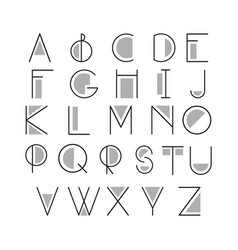 thin line style linear modern font typeface made vector image