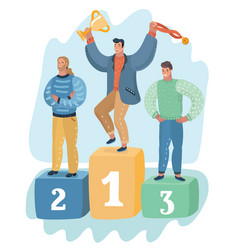 three men standing on podium ceremony awards vector image