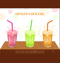 three oxygen cocktail on table concept for spa vector image
