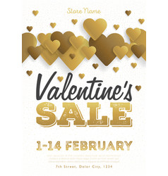 valentines day sale vintage flyer background with vector image