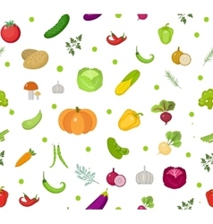 Vegetables seamless pattern Salad endless vector