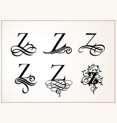Vintage set capital letter z for monograms and vector