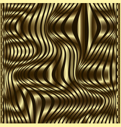 Waves gold 3d trendy seamless pattern modern vector