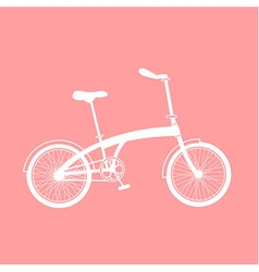White bicycle on pink background vector
