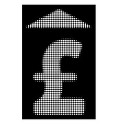 White halftone pound up icon vector