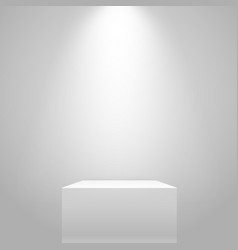 White illuminated stand on wall mockup vector