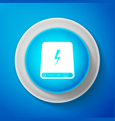 white power bank icon isolated on blue background vector image