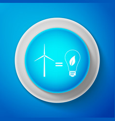 White wind turbine and light bulb with leaves icon vector