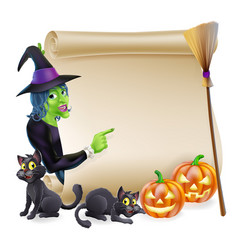 Witch scroll halloween banner vector