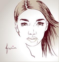 Woman face hand drawn vector