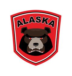 alaska grizzly mascot bear emblem sign wild vector image vector image