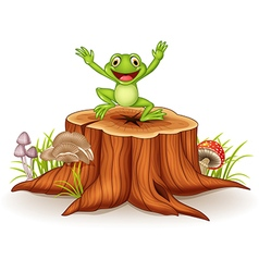 Cartoon happy frog jumping on tree stump vector image
