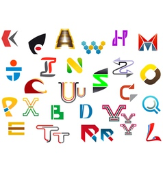 Colorful letter symbols and icons vector