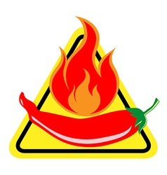 Hot and spicy Chili Pepper warning sign vector image vector image