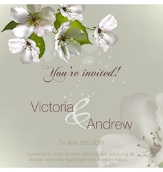 invitation with flowers Apple vector image vector image