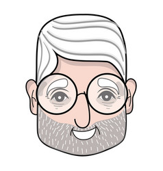 Old man face with glasses and hairstyle vector