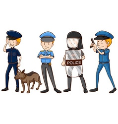 Police in different uniforms vector image