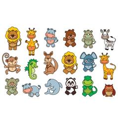 set funny cartoon animals vector image