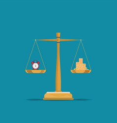balance time and money on scales vector image