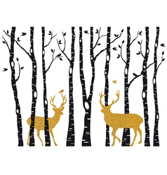 Birch trees with gold Christmas reindeer vector image vector image
