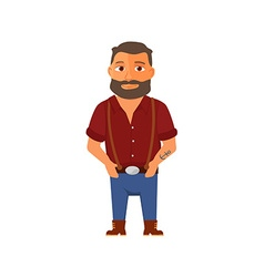 Cartoon hipster character with beard vector image vector image