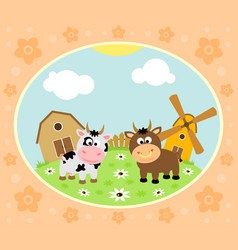 farm background with funny cow and bull vector image