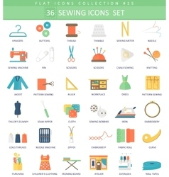 Sewing color flat icon set Elegant style vector image vector image