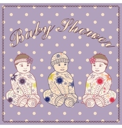 Baby shower triplets two girls and boy vector image