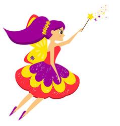 beautiful flying fairy flapping magic wand elf vector image vector image