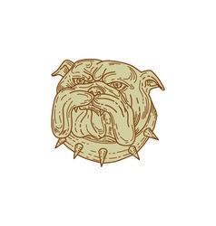 Bulldog Dog Mongrel Head Collar Mono Line vector image vector image