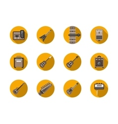 Guitars equipment round flat icons set vector image