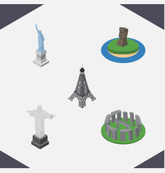 isometric cities set of england paris chile vector image vector image