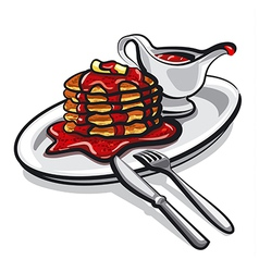pancakes with jam vector image vector image