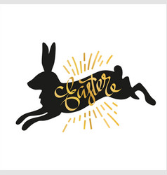 silhouette of a black rabbit with a handwritten vector image