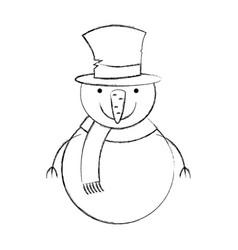 snowman christmas character icon vector image