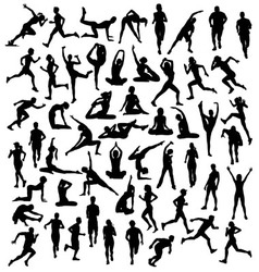 Various Silhouettes Sports Activities vector image vector image