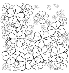 Adult coloring book page four leaf clovers hand vector